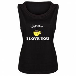 Damska koszulka bez rękawów Espresso. I love you