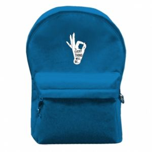 Backpack with front pocket Every thing will be ok
