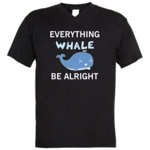 Męska koszulka V-neck Everything whale be alright