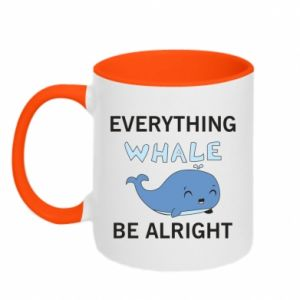 Kubek dwukolorowy Everything whale be alright