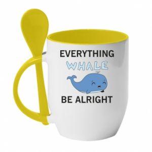Kubek z ceramiczną łyżeczką Everything whale be alright