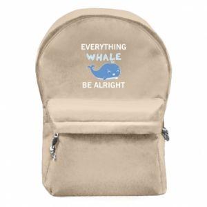 Plecak z przednią kieszenią Everything whale be alright