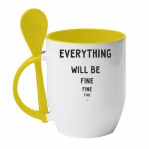 Kubek z ceramiczną łyżeczką Everything will be fine... fine... fine