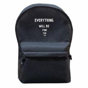 Plecak z przednią kieszenią Everything will be fine... fine... fine