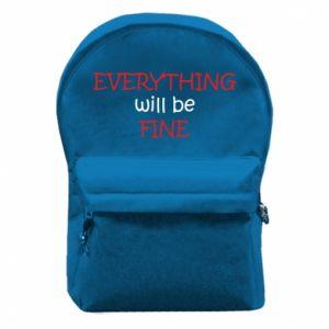 Plecak z przednią kieszenią Everything will be fine