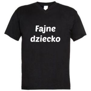 Męska koszulka V-neck Fajne dziecko fajny napis