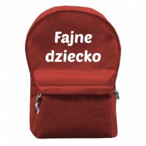 Plecak z przednią kieszenią Fajne dziecko fajny napis