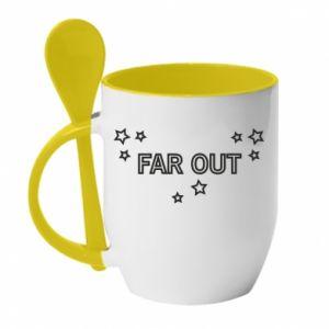 Kubek z ceramiczną łyżeczką Far out