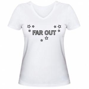 Damska koszulka V-neck Far out