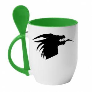 Kubek z ceramiczną łyżeczką Ferocious dragon in profile