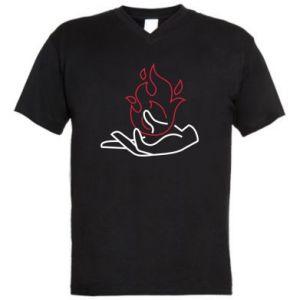 Men's V-neck t-shirt Fire in hand