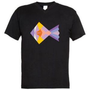 Męska koszulka V-neck Fish abstraction