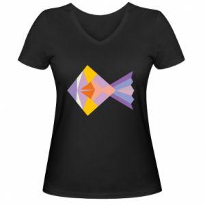 Damska koszulka V-neck Fish abstraction