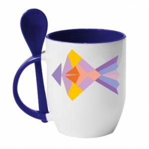 Kubek z ceramiczną łyżeczką Fish abstraction