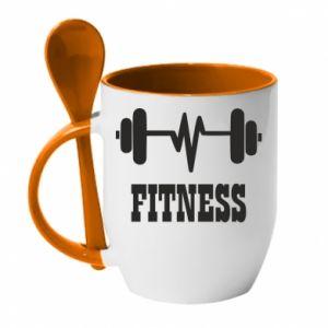 Mug with ceramic spoon Fitness