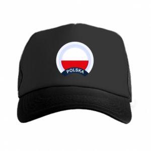 Czapka trucker Flaga Polska okrągła