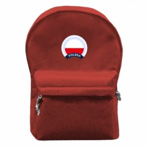 Backpack with front pocket Flag Of Poland round
