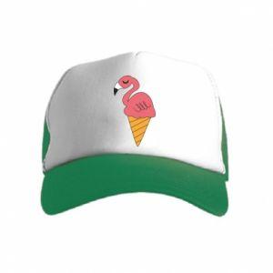 Czapka trucker dziecięca Flamingo ice cream