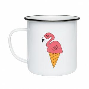 Kubek emaliowane Flamingo ice cream