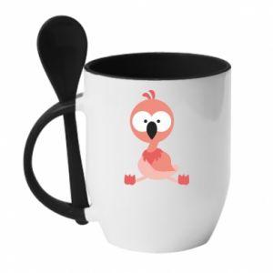 Kubek z ceramiczną łyżeczką Flamingo