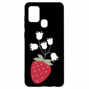 Etui na Samsung A21s Flowering strawberries