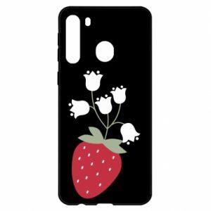 Etui na Samsung A21 Flowering strawberries