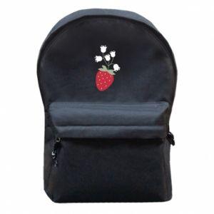 Plecak z przednią kieszenią Flowering strawberries