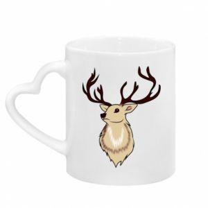 Mug with heart shaped handle Fluffy deer