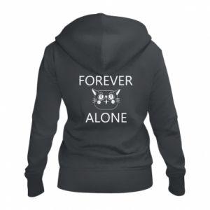 Women's zip up hoodies Forever alone - PrintSalon