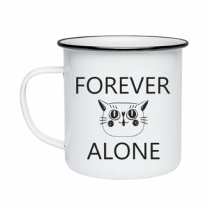 Enameled mug Forever alone - PrintSalon