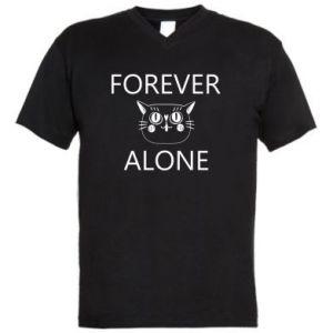 Men's V-neck t-shirt Forever alone - PrintSalon