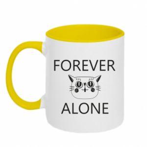 Two-toned mug Forever alone - PrintSalon