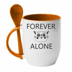 Mug with ceramic spoon Forever alone - PrintSalon