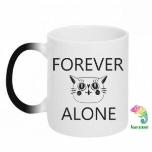 Chameleon mugs Forever alone - PrintSalon