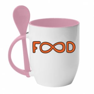 Mug with ceramic spoon Forever food