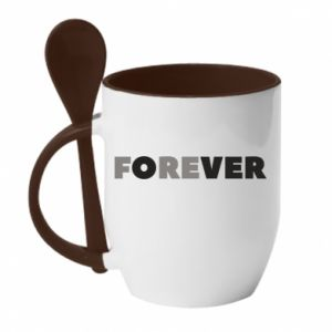 Kubek z ceramiczną łyżeczką Forever over