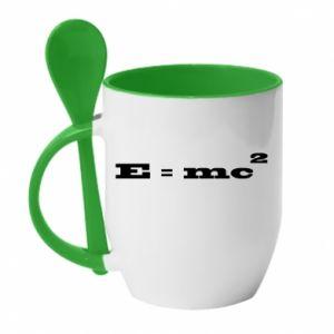Mug with ceramic spoon E = mc2