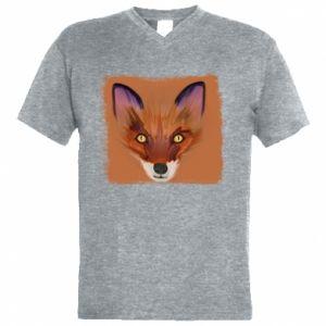 Męska koszulka V-neck Fox on an orange background