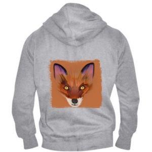 Męska bluza z kapturem na zamek Fox on an orange background - PrintSalon