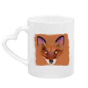 Kubek z uchwytem w kształcie serca Fox on an orange background