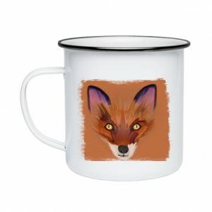 Kubek emaliowane Fox on an orange background - PrintSalon