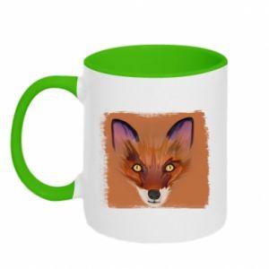 Kubek dwukolorowy Fox on an orange background - PrintSalon