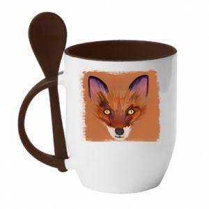 Kubek z ceramiczną łyżeczką Fox on an orange background - PrintSalon