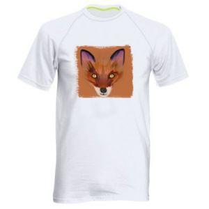 Męska koszulka sportowa Fox on an orange background - PrintSalon