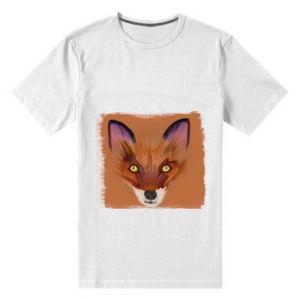 Męska premium koszulka Fox on an orange background - PrintSalon