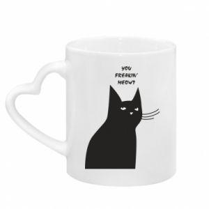 Mug with heart shaped handle Freakin' meowt