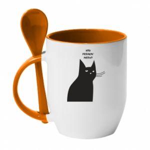Kubek z ceramiczną łyżeczką Freakin' meowt