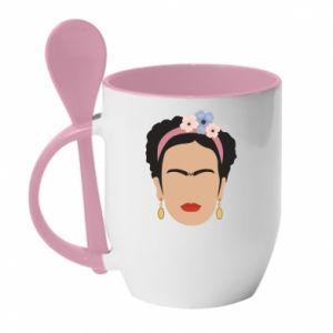 Mug with ceramic spoon Frida Kahlo - PrintSalon