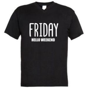 Męska koszulka V-neck Friday. Hello weekend
