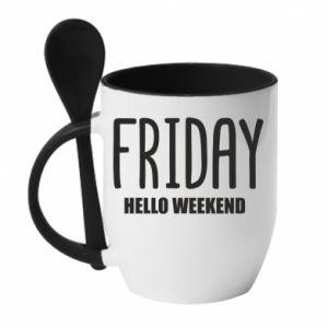 Kubek z ceramiczną łyżeczką Friday. Hello weekend